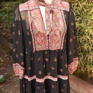 WOMEN'S DRESS JOIE SHEER SILK BOHO SIZE SMALL